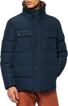 Andrew Marc Godwin Faux Fur Collar Down & Feather Fill Quilted Coat