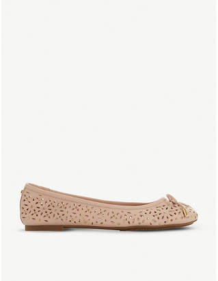 Dune Heleina leather studded ballet pump