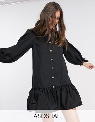 Asos Tall ASOS DESIGN Tall grandad collar button through mini smock dress with pephem in black