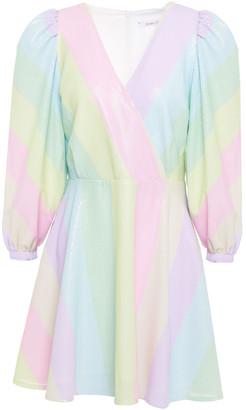 Olivia Rubin Amber Sequined Striped Georgette Mini Dress