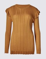 Marks and Spencer Ribbed Frill Shoulder Crew Neck Jumper