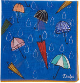 Drakes Drake's Men's Umbrella-Print Pocket Square-BLUE