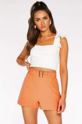 Quiz Coral Woven Square Buckle Shorts