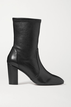 Stuart Weitzman Yuliana Leather Sock Boots - Black
