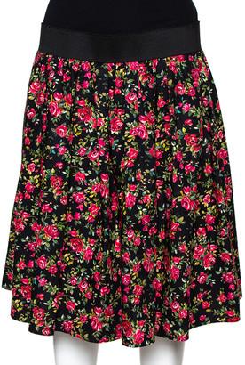 Dolce & Gabbana Black Floral Printed Cotton Flared Skirt L