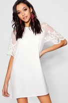 boohoo Lace Sleeve Shift Dress
