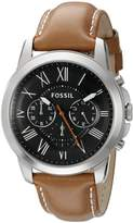 Fossil Men's Grant FS4918 Brown Leather Quartz Watch
