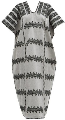Pippa No.212 Embroidered Cotton Kaftan - Grey Print