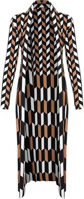 Oscar de la Renta Geometric Pattern Cardigan Coat