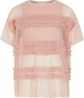 River Island Girls Pink frill mesh cropped top