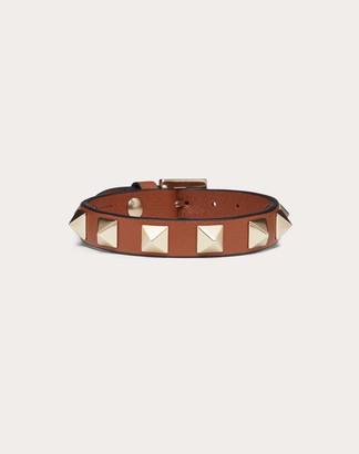 Valentino Rockstud Calfskin Bracelet Women Saddle Brown Calfskin 100% OneSize