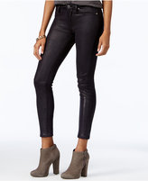 7 For All Mankind Coated Black Metal Snake Wash Skinny Jeans