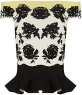 Alexander McQueen Rose-intarsia off-the-shoulder peplum top