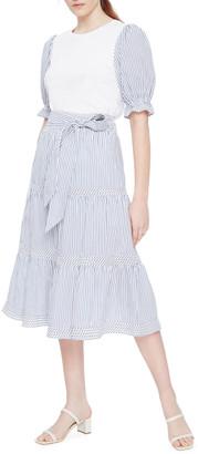 Parker Frederica Tiered Striped Skirt w/ Tie-Waist