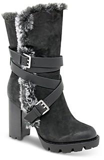 Charles David Women's Gideon Faux Fur Trim Tumbled Suede High Heel Booties