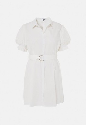 Missguided Plus Size White D Ring Belted Shirt Dress