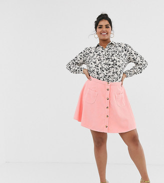 Asos DESIGN Curve cord mini skater skirt with buttons and pockets
