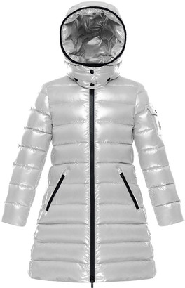 Moncler Moka Laque Mini Me Quilted Hooded Long Coat, Size 8-14