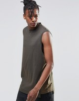 Asos Oversized Sleeveless T-Shirt With Contrast Panels In Khaki