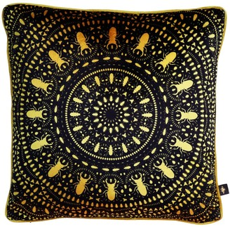 The Curious Department Insect Mandala Black Velvet Cushion