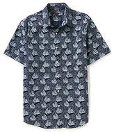 Murano San Francisco Collection Short-Sleeve Slim-Fit Point Collar Geo Print Poplin Waves Shirt