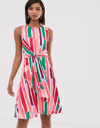 Closet London wrap front pencil dress in rainbow fleck print-Multi