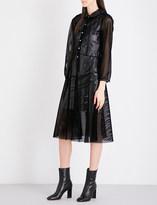 Junya Watanabe Velvet mesh and faux-leather dress
