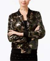 POLLY AND ESTHER Say What Juniors' Sequined Camo-Print Bomber Jacket
