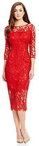 Antonio Melani Briar Crew Neck Scalloped Lace Midi Sheath Dress