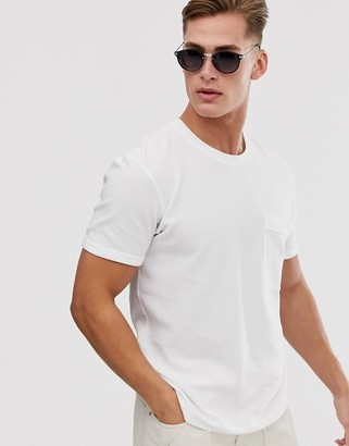 Selected boxy fit t-shirt in ribbed cotton-White