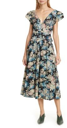 La Vie Rebecca Taylor Plunging Poplin Midi Dress