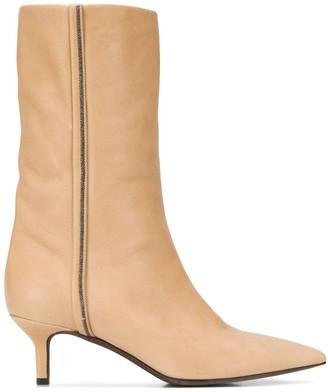 Brunello Cucinelli Brass-Embellished Kitten-Heel Boots