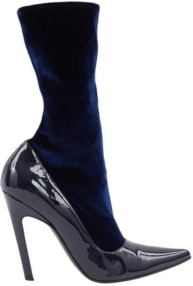Balenciaga Knife Navy Patent leather Ankle boots