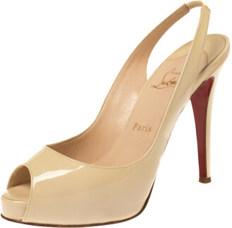 Christian Louboutin Cream White Patent Leather Private Number Peep Toe Slingback Sandals Size 38