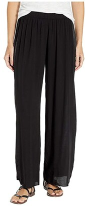 Hard Tail Pull-On Wide Racer Stripe Pants (Black) Women's Casual Pants