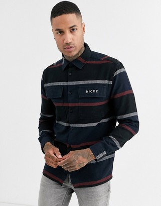 Nicce shirt in multi stripe-Navy