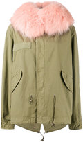 Mr & Mrs Italy - pink racoon fur hood unlined parka jacket - women - Cotton/Polyester/Racoon Fur - XS
