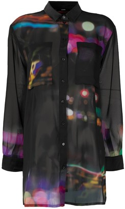 Diesel Abstract Print Cut-Out Blouse