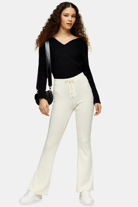 Topshop Womens Cream Lace Up Flare Trousers - Cream