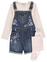 George 3 Piece Embroidered Short Dungarees, Top and Tights Set