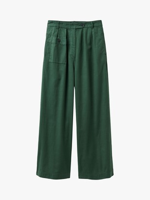 Toast Soft Cotton Twill Trousers, Blue/Green