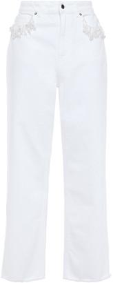 Christopher Kane Bead-embellished High-rise Wide-leg Jeans