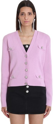 Alessandra Rich Cardigan In Rose-pink Cotton