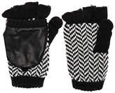 Plush Herringbone Texting Mittens in Black & White.