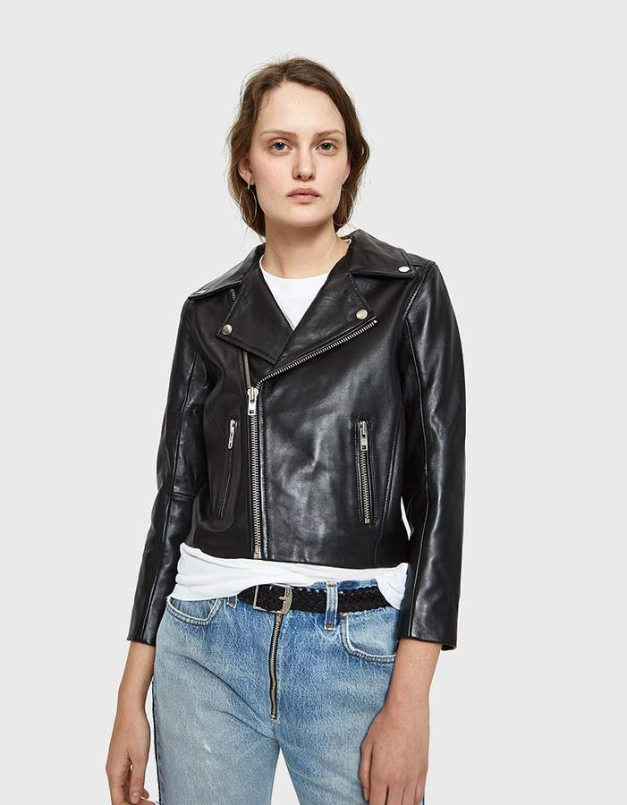 Ganni Passion Biker Jacket in Black/Rust