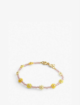 Anni Lu Petals seed beaded and 18ct gold-plated brass bracelet