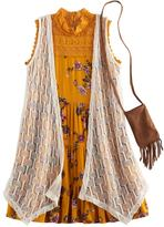 Knitworks Girls 7-16 Crochet Duster Vest & Lace Highneck Tiered Floral Dress Set with Fringe Crossbody Cell Phone Purse