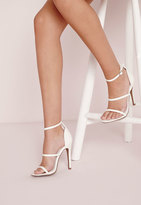 Missguided Three Strap Barely There Heeled Sandals White