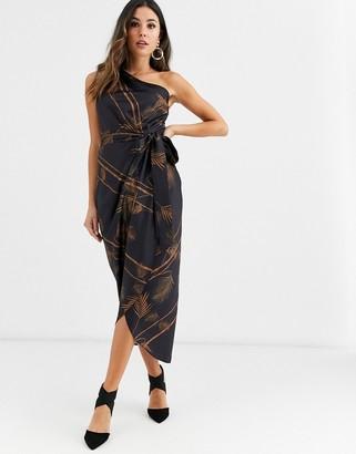 Ted Baker Gabia caramel one shoulder dress-Black