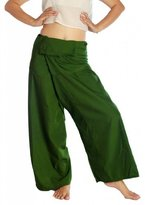 Siam Secrets Thai Fisherman Pants Unisex Light Weight Wrap Yoga Pants Olive